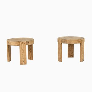 Vintage Small Swedish Pine Stools, 1940s, Set of 2