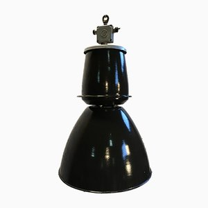 Large Black Factory Pendant Lamp from Elektrosvit, 1950s