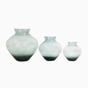 Vasi serie Turmalin in vetro fumé di Wilhelm Wagenfeld per WMF, anni '50, set di 3