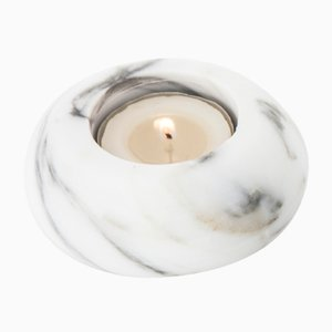White Carrara Marble Candle Holder from FiammettaV Home Collection