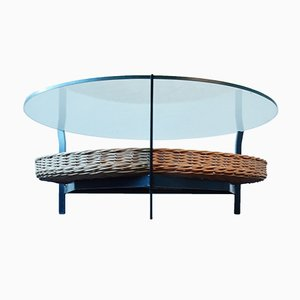 Mid-Century Coffee Table in Metal and Glass