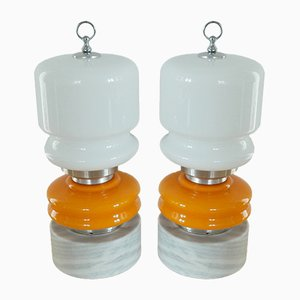 Vintage Orange and White Glass Table Lamps on Stone Pedestal, Set of 2