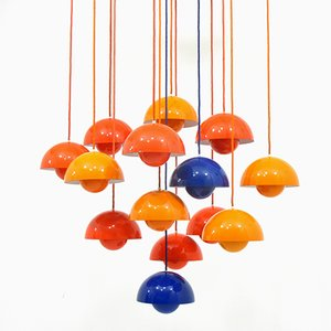 Flower Pot Hanging Lamps by Verner Panton for Louis Poulsen, 1960s, Set of 14