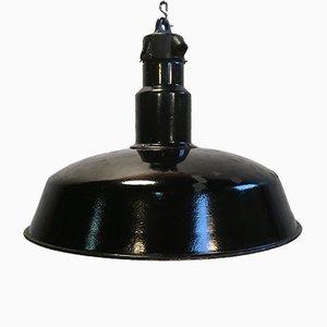 Lámpara de fábrica Mid-Century esmaltada en negro, años 50