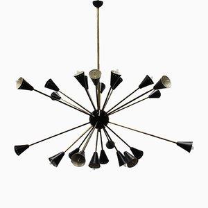 Italienischer schwarzer Mid-Century Sputnik Kronleuchter von Stilnovo, 1950er