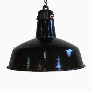 Lámpara colgante esmaltada en negro, años 50