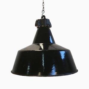 Lampe à Suspension Vintage en Émail Noir, 1930s