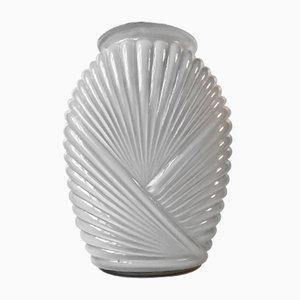 Geriffelte Art Deco Vase aus weißem Opalglas, 1930er