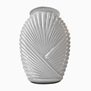 Ribbed Art Deco Vase in Cased White Opaline Glass, 1930s