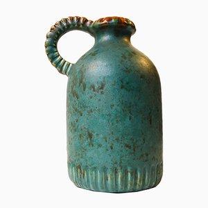 Vase avec Poignées Art Déco en Céramique Verte par Michael Andersen, 1940s