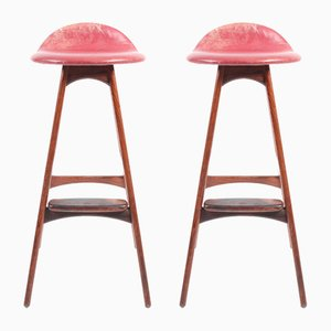 Vintage Rosewood Barstools by Erik Buch for Odense Møbelfabrik, 1960s, Set of 2