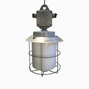 Lámpara industrial vintage de aluminio, años 70