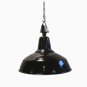 Lampe Industrielle Vintage Noire avec Dessus en Porcelaine, 1950s