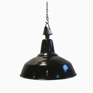 Vintage Industrial Black Lamp with Porcelain Top, 1950s