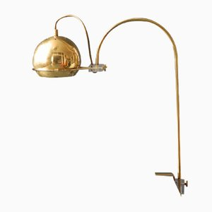 Italian Full Brass Clamp Lamp with Movable Shade, 1960s