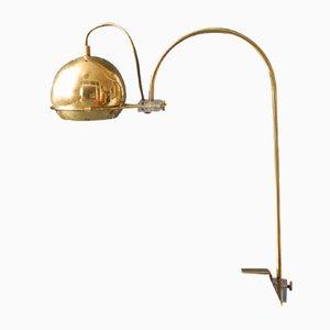 Lampe à Pince entièrement en Laiton avec Abat-Jour Flexible, Italie, 1960s