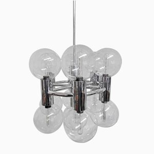 Vintage Chrome and Glass Ceiling Lamp by Motoko Ishii for Staff, 1970s