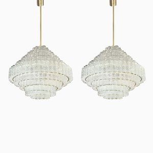 Large Nine-Tier Chandeliers from Doria Leuchten, 1960s, Set of 2