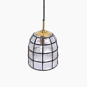 Iron & Glass Pendant Light from Limburg, 1960s