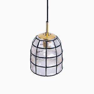 Lámpara colgante de hierro y vidrio de Limburg, años 60