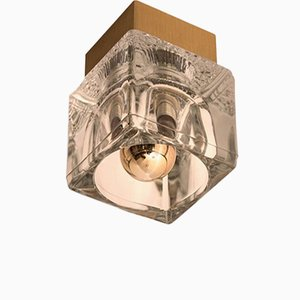 Brass & Glass Cube Ceiling or Wall Light from Peill & Putzler, 1970s