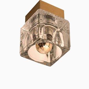 Lámpara de techo o pared de vidrio y latón en forma de cubo de Peill & Putzler, años 70
