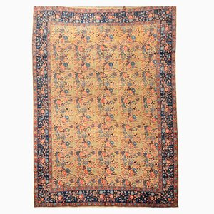 Antique Rug with Flower Design, 1900s