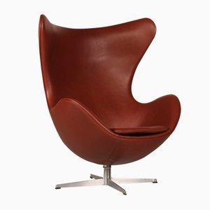Cognacfarbener Leder 3316 Egg Chair von Arne Jacobsen für Fritz Hansen, 1969