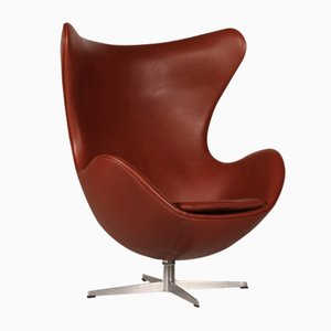 Egg chair nr. 3316 in pelle color cognac di Arne Jacobsen per Fritz Hansen, 1969