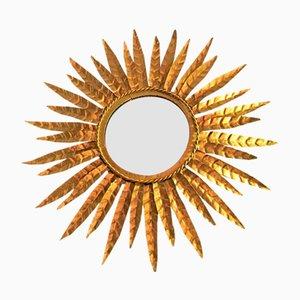 Espejo en forma de sol francés vintage dorado, años 60