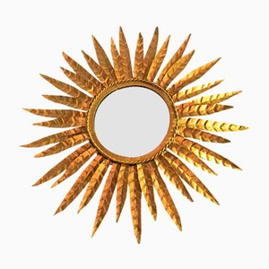 Vintage French Circular Golden Sunburst Mirror, 1960s
