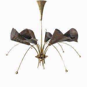 Lampada a sospensione in ferro traforato di Kobis et Lorence, Francia, anni '50