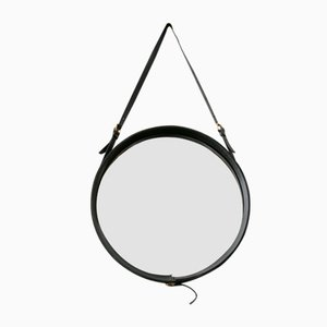 French Round Black Leather Mirror by Jacques Adnet, 1950s