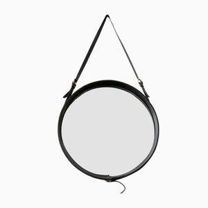 Runder Französischer schwarzer Leder Spiegel von Jacques Adnet, 1950er