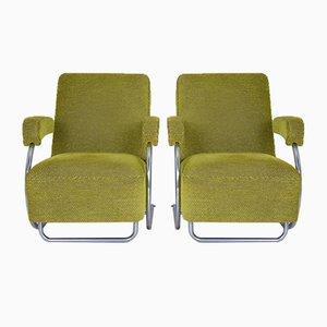 Französische Grüne Mid-Century Sessel, 1950er, 2er Set