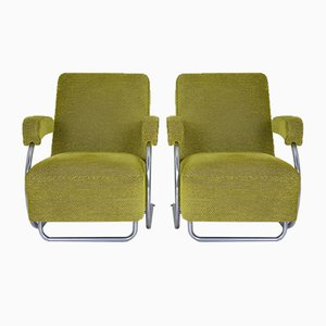 Mid-Century French Green Lounge Chairs, 1950s, Set of 2