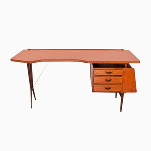 Mid-Century Dutch Teak Desk by Louis Van Teeffelen for WéBé, 1950s
