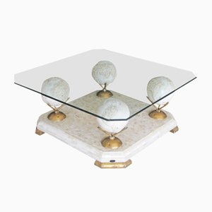 Table Basse en Marbre & Verre de Fournier, 1960s
