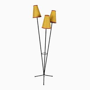 Lámpara trípode francesa de rafia, años 60
