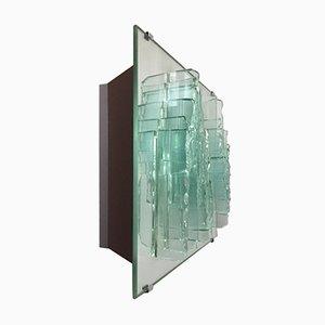 Lampada da parete vintage in vetro specchiato di Willem Van Oyen per Raak, anni '80