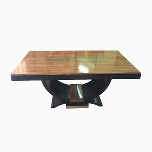 French Art Deco Zebra Wood & Brass Table, 1930s