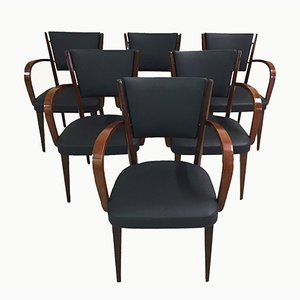Vintage Italian Walnut Armchairs, 1950s, Set of 6