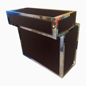 Mobile bar vintage in metallo cromato, ottone e vetro