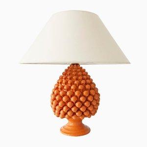 Lámpara de mesa vintage de cerámica con base en forma de piña, años 70