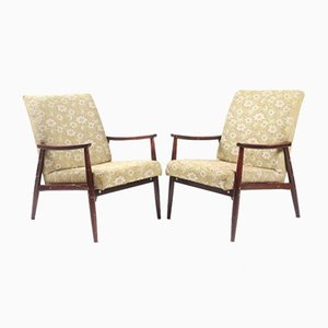Vintage Floral Czech Lounge Chairs, 1970s, Set of 2