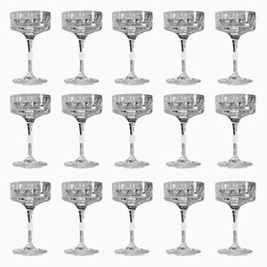 Crystal Champagne Glasses by Claus Josef Riedel for Riedel Glas Tirol, 1960s, Set of 15