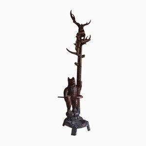 Porteanteau Antique en Bois Sculpté en Forme d'Ours
