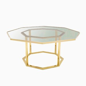 Table Basse Hollywood Regency Octogonale en Laiton & Verre Fumé, Italie, 1970s