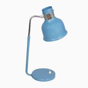 Lámpara de mesa de trabajo industrial vintage en azul, años 70