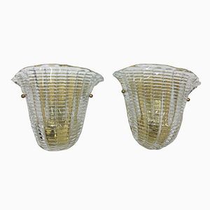 Italian Brass & Murano Glass Sconces, 1970s, Set of 2